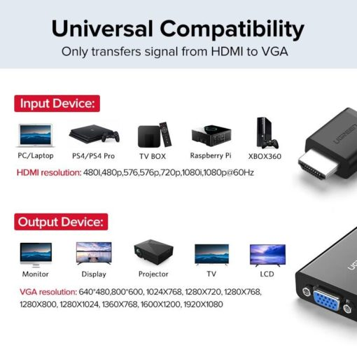 HDMI to VGA Adapter with Audio Jack Computers & Networking Networking