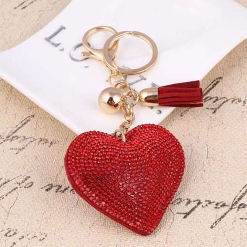 Heart Shaped Keychain with Crystals Budget Friendly Gifts