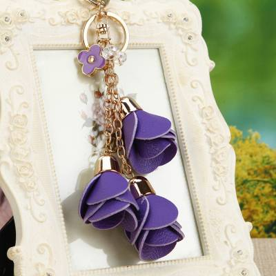 Women's Key Chain with Leather Flowers Budget Friendly Gifts