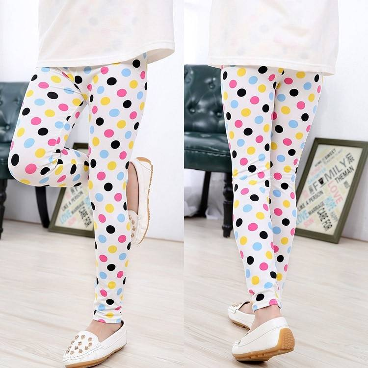 Girl's Bright Polyester Pants with Elastic Waist