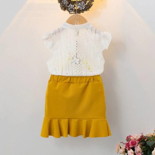 Girls' Cute Polyester Shirt with Skirt Clothing Sets Children's Girl Clothing