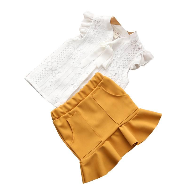 Girls' Cute Polyester Shirt with Skirt