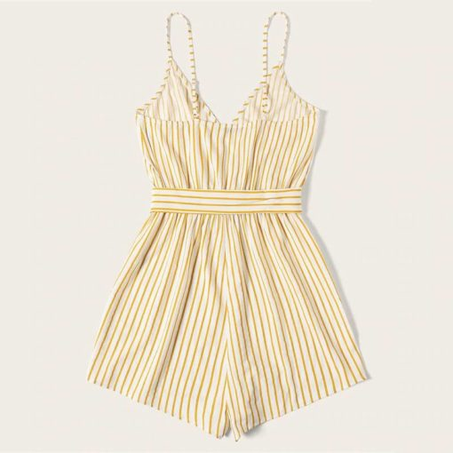 Striped Wrap Cami Romper for Women Jumpsuits Women's Women's Clothing