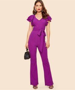 Women's Ruffle Sleeve Purple Flared Jumpsuit Jumpsuits Women's Women's Clothing
