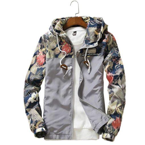 Floral Hooded Long Sleeve Windbreaker for Men Jackets & Coats Men's Men's Clothing