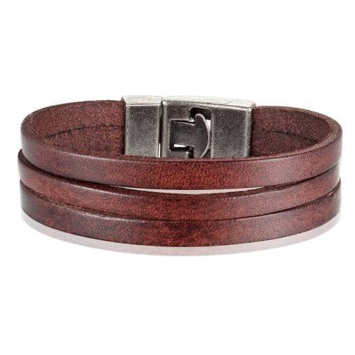 Classic Style Double Layer Toggle-clasp PU Leather Bracelet For Men Budget Friendly Accessories