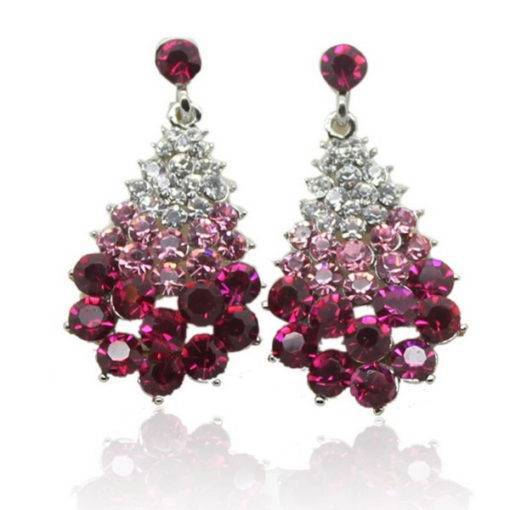 Women Rhinestone Christmas tree Crystal Earrings Budget Friendly Accessories