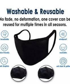 Black Double Layer Reusable & Washable Cotton Face Mask