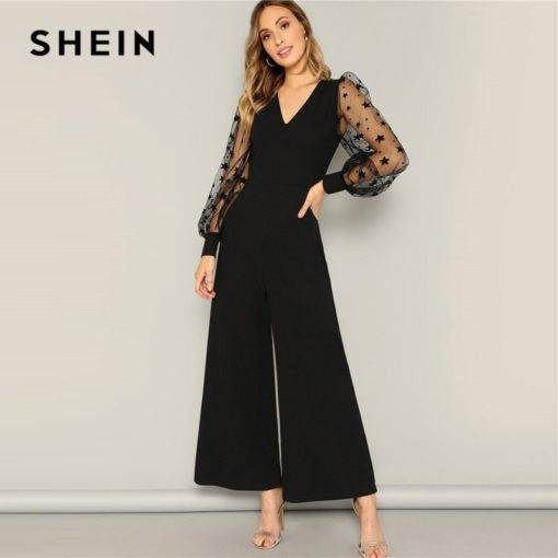 Women Black Contrast Mesh Galaxy Print Sleeve Top And Wide Leg Pants Jumpsuits Jumpsuits