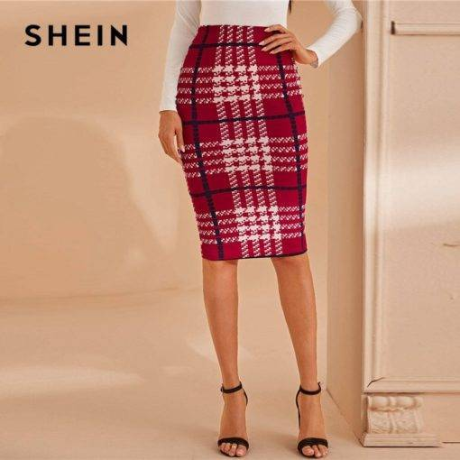 Plaid Print Elegant Pencil Skirt Skirt