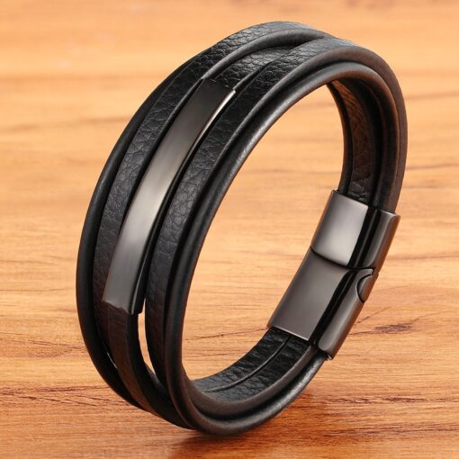 Men's Geometric Stainless Steel Combination Leather Bracelet Budget Friendly Accessories