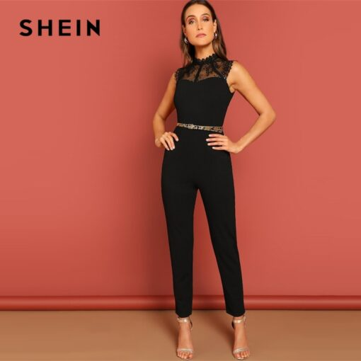 SHEIN Black Constract Lace Bodice Open Back Halter Skinny Mid Waist Sleeveless Jumpsuit Autumn Women Modern Lady Jumpsuits Jumpsuits Women's Women's Clothing