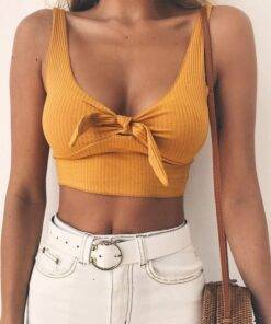 Women Ribbed Bow Tie Camisole Tank Top Our Best Sellers Tops & Tees