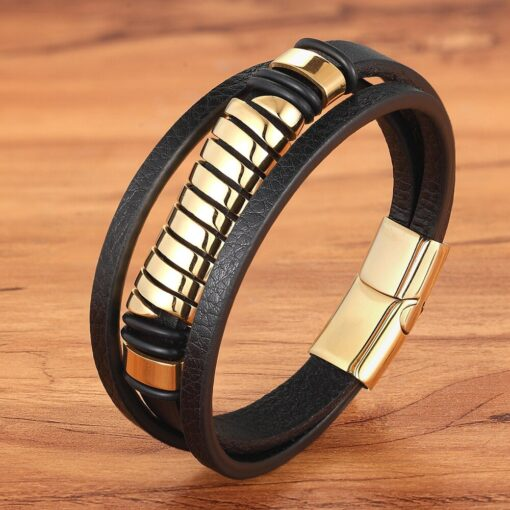 Luxury Multi-layer Men's Leather Stainless Steel Bracelet Budget Friendly Accessories