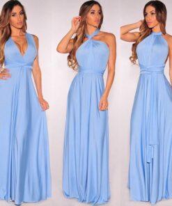 Multi way Wrap Convertible Long Dress Dresses
