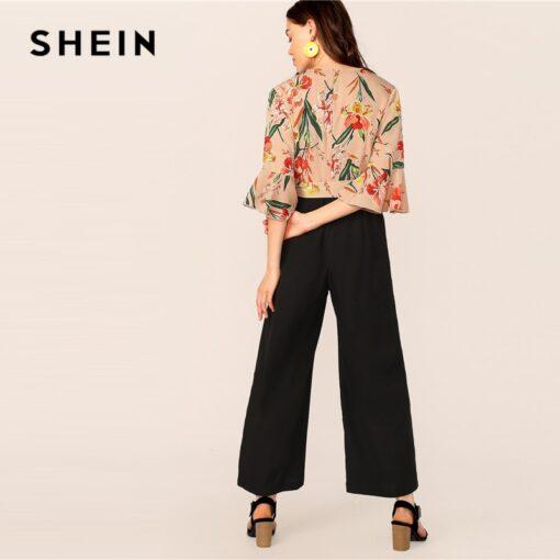 SHEIN Lady Elegant Floral Print Wrap Bodice Wide Leg Jumpsuit Spring Deep V Neck Knot Hem Flounce Sleeve Workwear Jumpsuits Jumpsuits Women's Women's Clothing