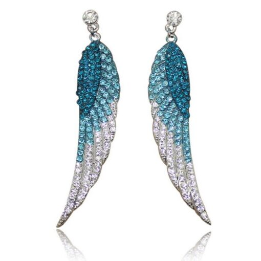 Women Silver Rhinestone Angel Wings Feather Stud Earrings Budget Friendly Accessories