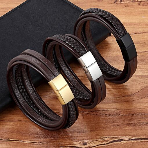 Men's Genuine Leather with Stainless Steel Buckle Bracelet Budget Friendly Accessories